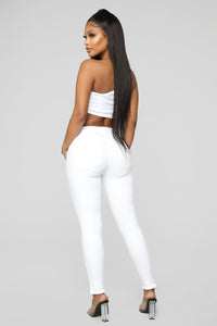 Side Eye Zip Jeans - White