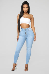 One Love High Rise Skinny Jeans - Light Blue