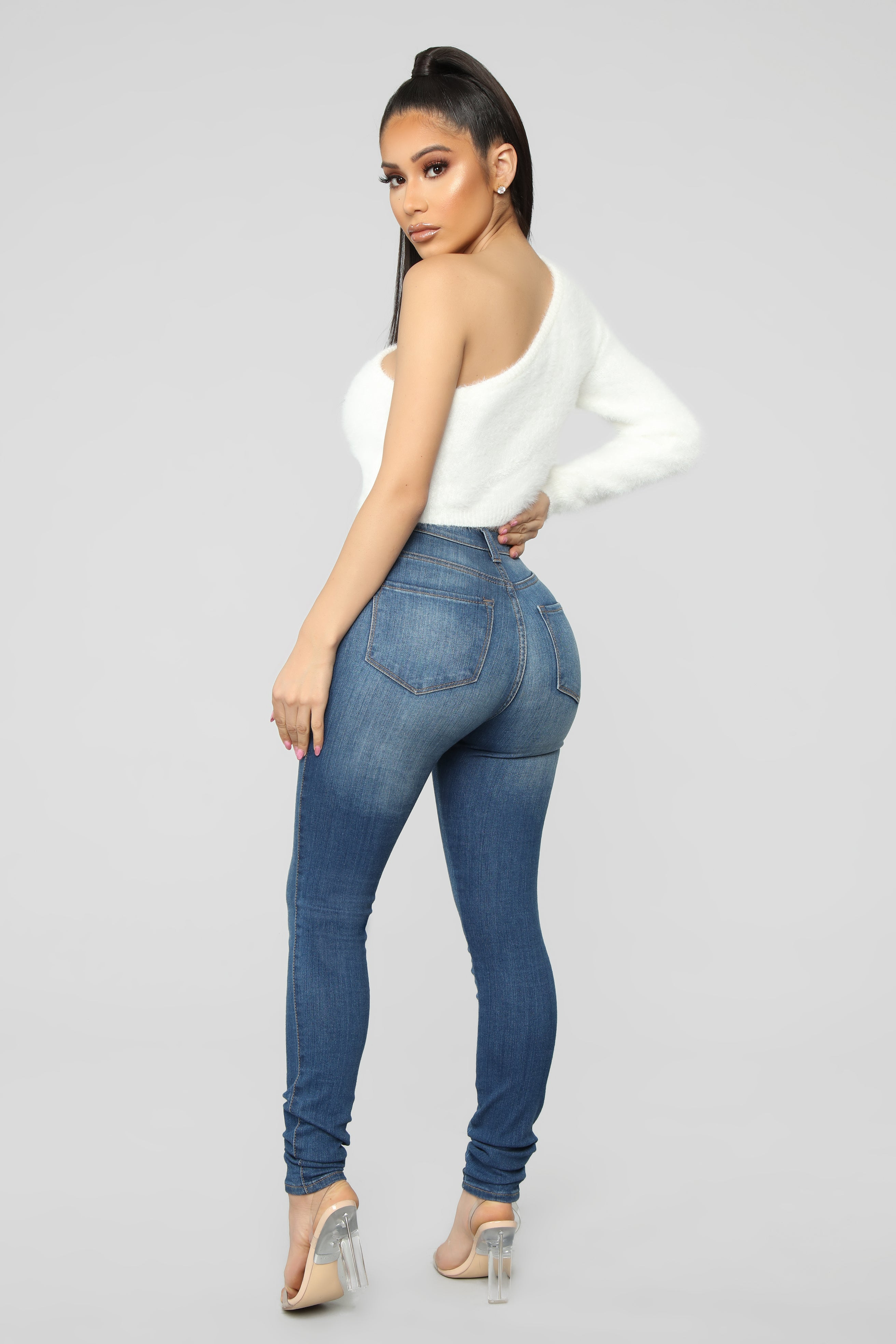 cb17a85794 Fuzz What You Heard One Shoulder Sweater - Ivory