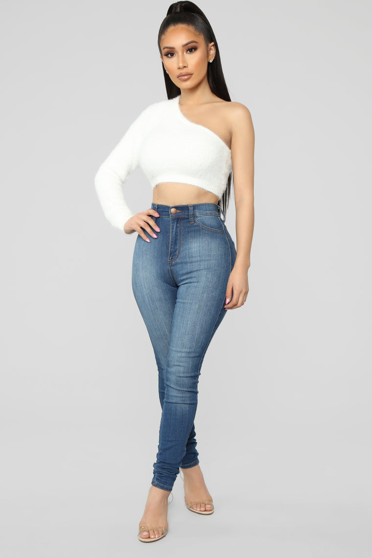 Fuzz What You Heard One Shoulder Sweater - Ivory
