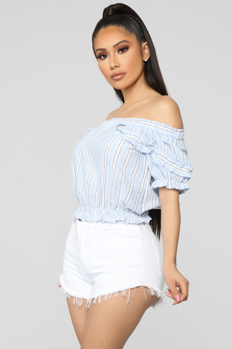 Always Fun Off Shoulder Top - Blue/Combo