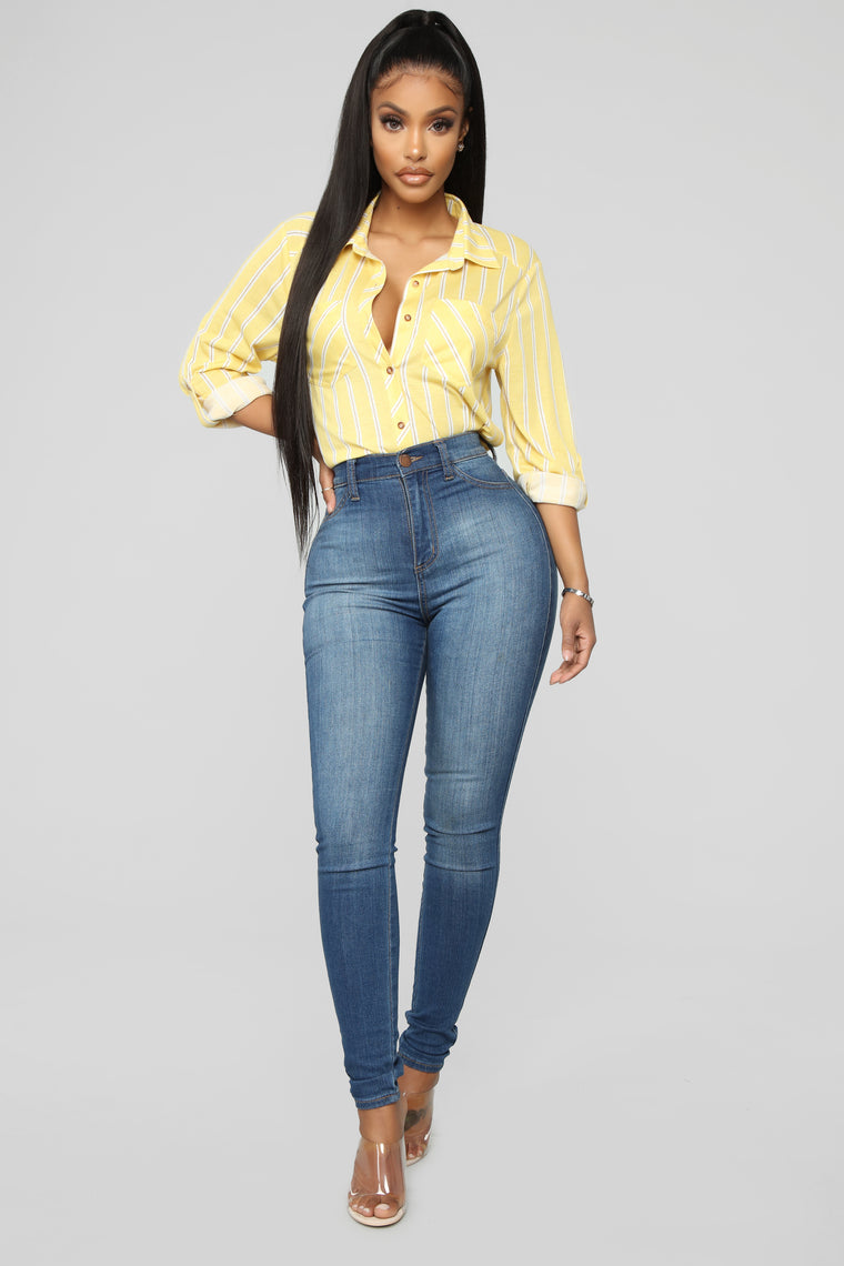 Gotta Do It Button Down Top - Yellow/Combo