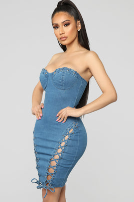 8df4de4fe9fa Laced Seduction Denim Dress - Medium Wash