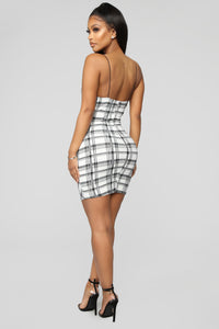 Baby Please Plaid Mini Dress - White/Combo