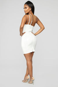 Dance Into Daylight Rhinestone Mini Dress - Off White
