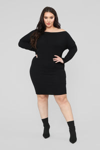 Keeping You Close Sweater Mini Dress - Black