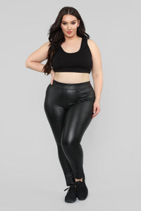 Liliana Faux Leather Leggings - Black