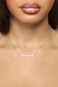 Crystal Metal Bar Necklace - Silver Angle 1