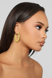 All Wrapped Up Hoop Earrings - Neon Yellow