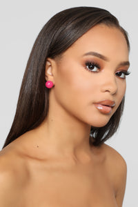 Beware Of The Plastics Earrings - Fuchsia