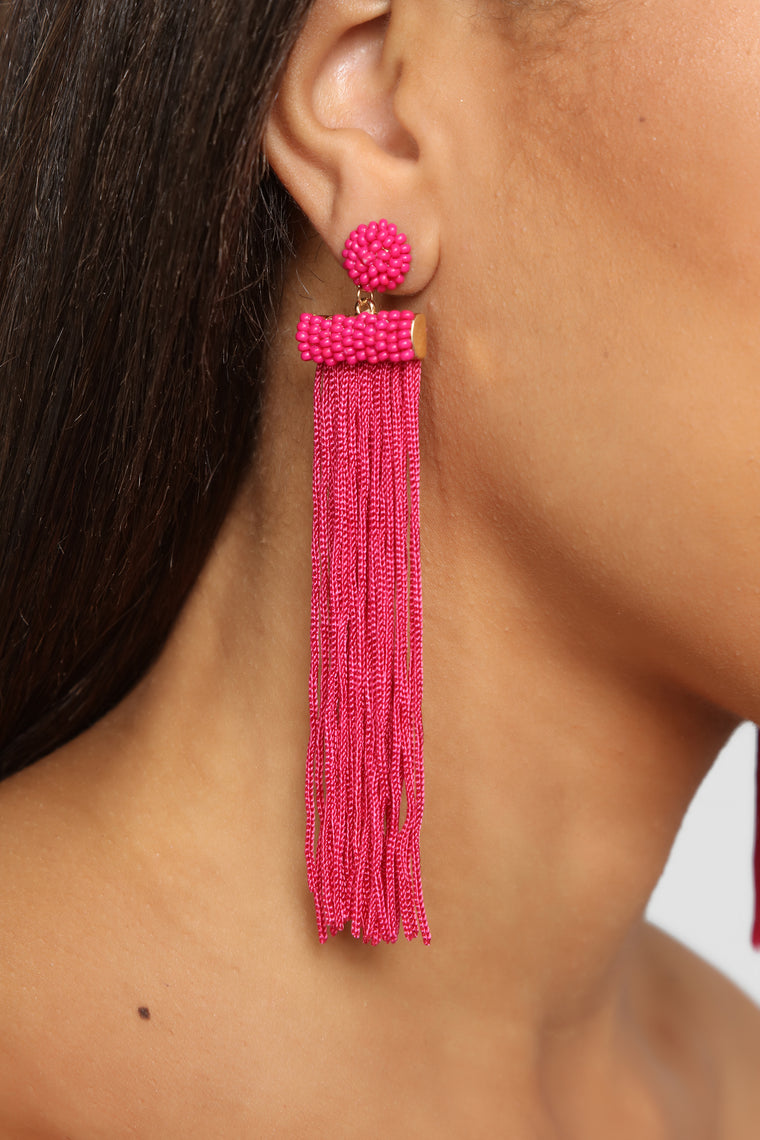 Bead You To It Earrings - Magenta