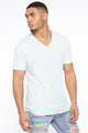Essential V Neck Tee - Blue