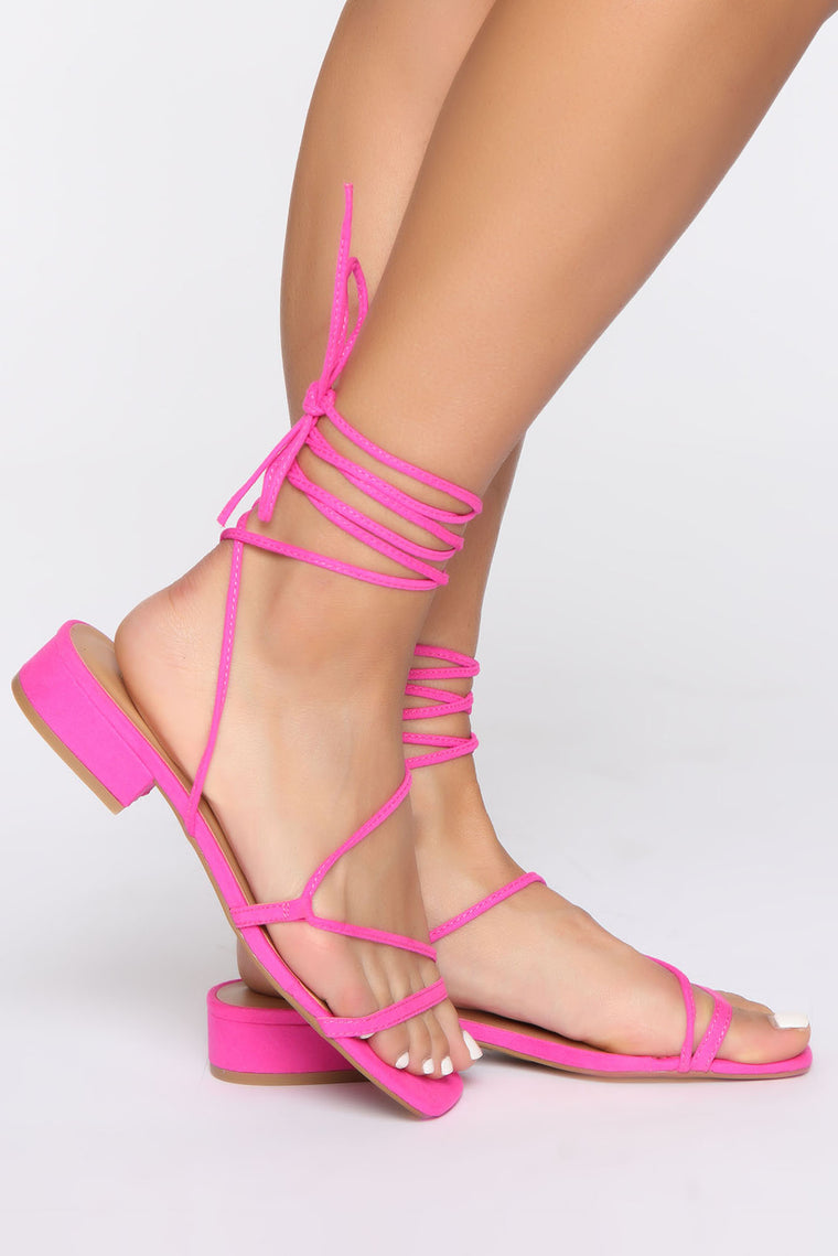 Jaelyn Lace Up Heeled Sandal - Hot Pink