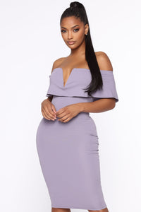 Lyla Off Shoulder Dress - Lavender Angle 2
