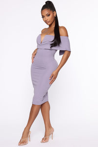 Lyla Off Shoulder Dress - Lavender Angle 3
