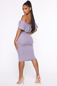 Lyla Off Shoulder Dress - Lavender Angle 4