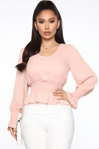 News Travels Fast Smocked Top - Blush Angle 1
