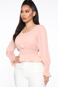 News Travels Fast Smocked Top - Blush Angle 3