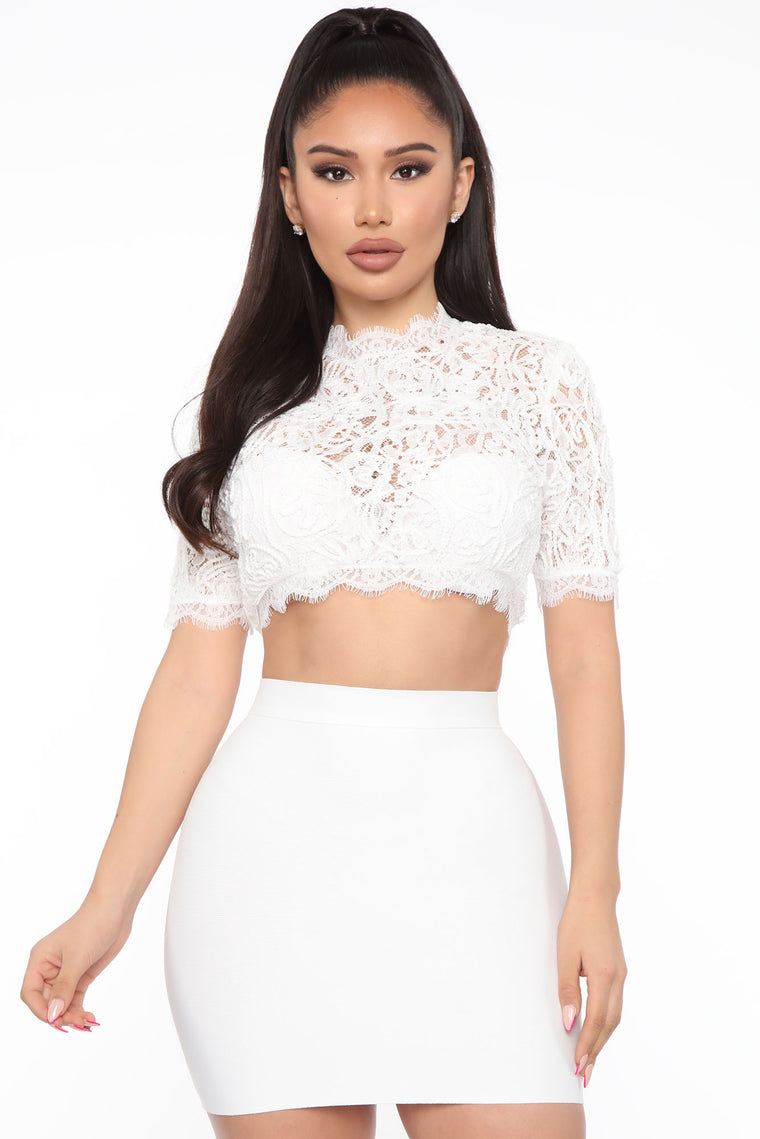 Gotta Show Me Love Cropped Top - White
