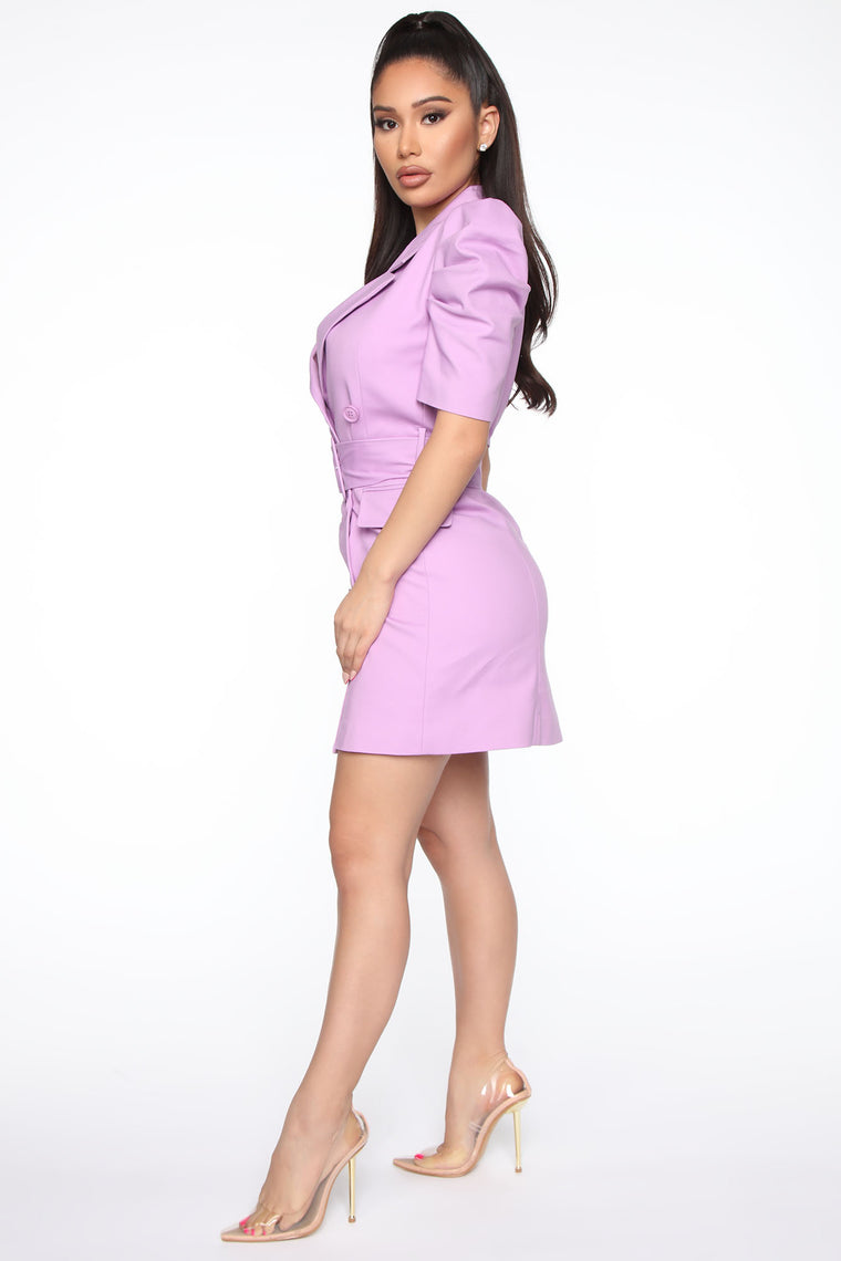 Boss And Baddie Belted Dress - Lavender