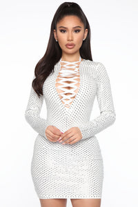 Iconic Woman Rhinestone Mini Dress - White Angle 1