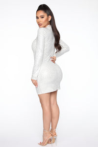 Iconic Woman Rhinestone Mini Dress - White Angle 4