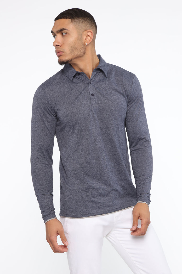 Patrick Long Sleeve Polo - Navy