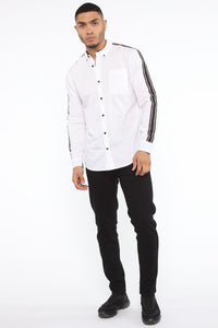 Lewis Long Sleeve Woven Top - White Angle 2