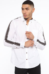 Lewis Long Sleeve Woven Top - White Angle 1