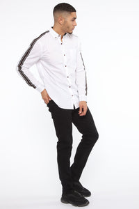 Lewis Long Sleeve Woven Top - White Angle 4