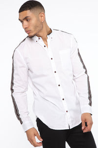 Lewis Long Sleeve Woven Top - White Angle 3