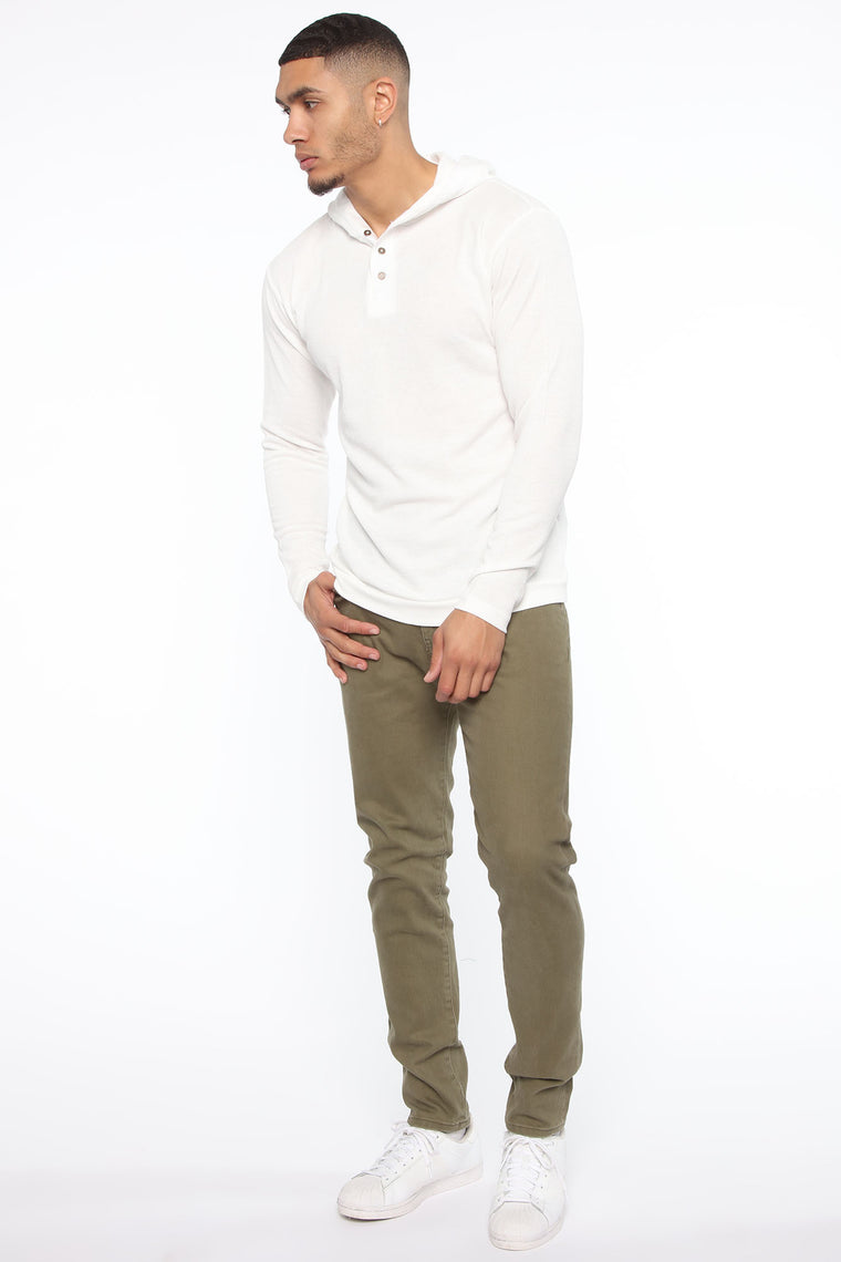 Carson Long Sleeve Henley Hoodie - White