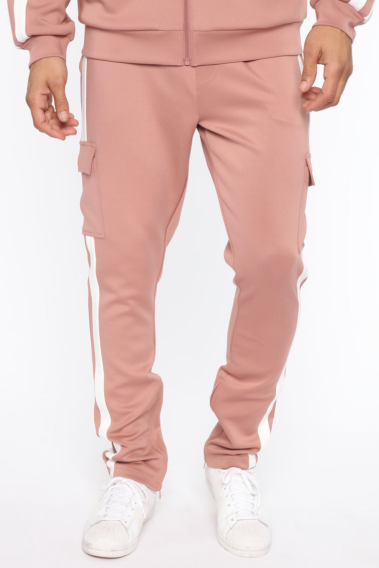 Post Cargo Track Pants - Mauve/White