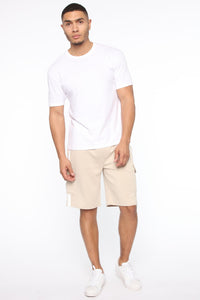Post Cargo Short - Stone/White Angle 2