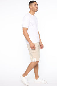 Post Cargo Short - Stone/White Angle 4