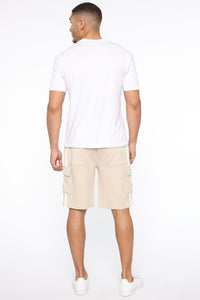 Post Cargo Short - Stone/White Angle 6
