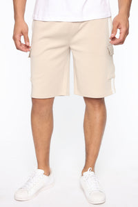 Post Cargo Short - Stone/White Angle 3