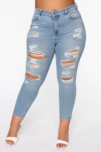The Comeback Destructed Skinny Jeans - Light Blue Wash Angle 3