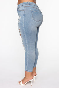 The Comeback Destructed Skinny Jeans - Light Blue Wash Angle 6