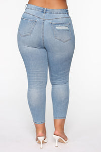 The Comeback Destructed Skinny Jeans - Light Blue Wash Angle 4