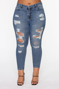 The Comeback Destructed Skinny Jeans - Medium Blue Wash Angle 3