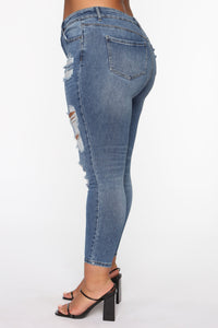 The Comeback Destructed Skinny Jeans - Medium Blue Wash Angle 6
