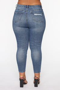 The Comeback Destructed Skinny Jeans - Medium Blue Wash Angle 4