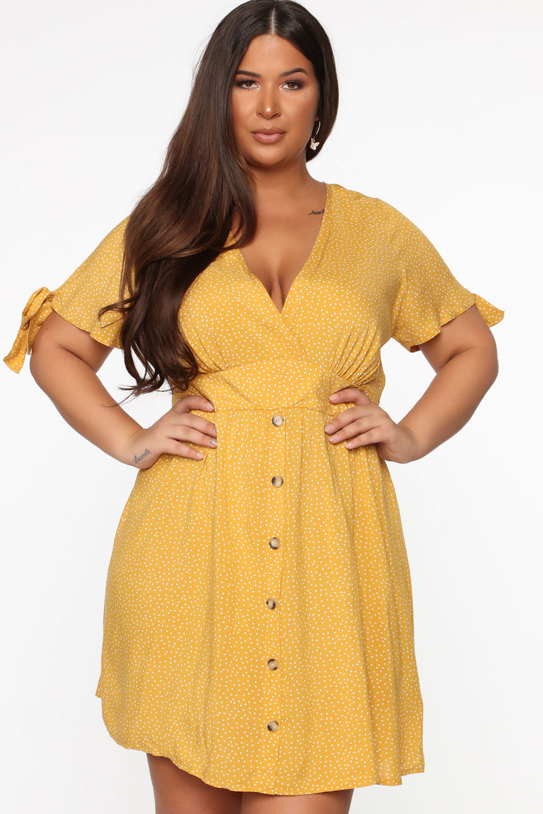 Best Kisses Mini Dress - Mustard/Combo