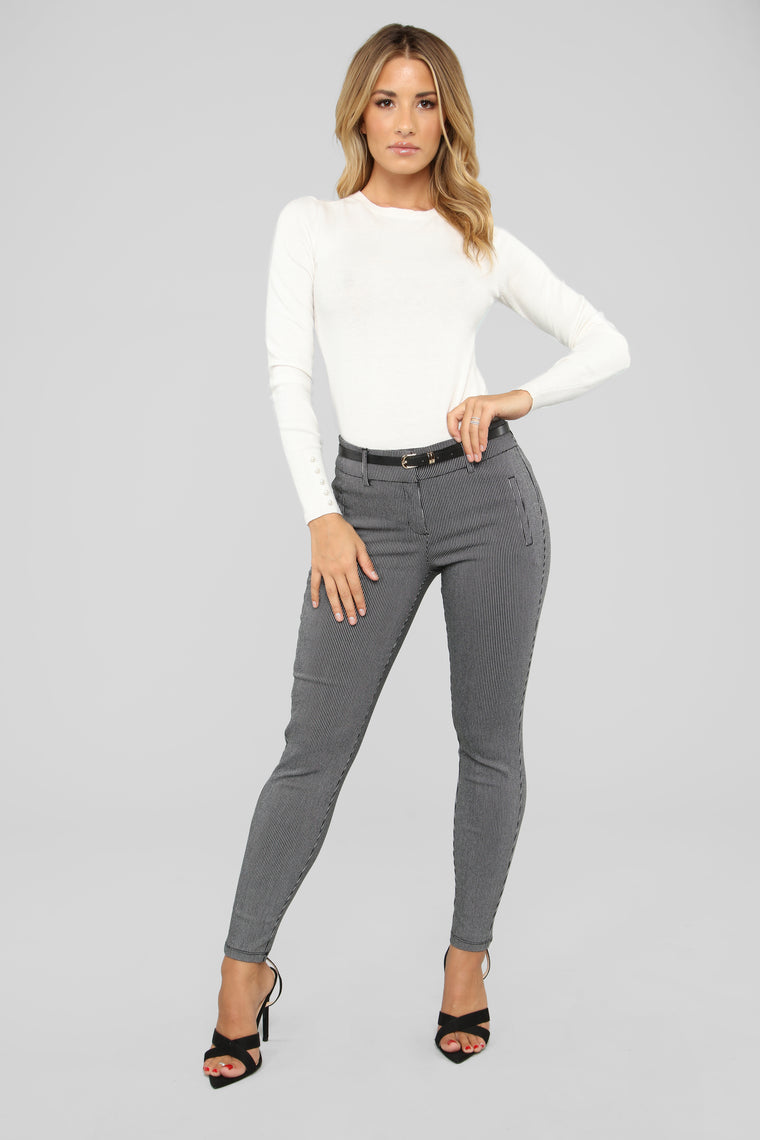 Go About Your Business Belted Pants - Black/White