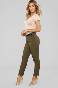 Here To Stay Belted Pants - Olive