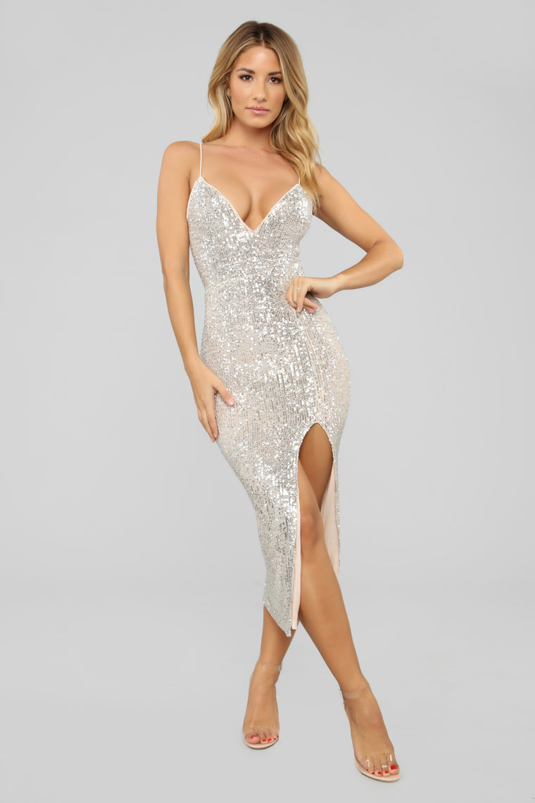 Stars Do Shine Sequin Dress Silver