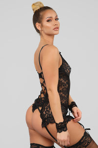 All Yours For One Night 3 Piece Chemise Set - Black