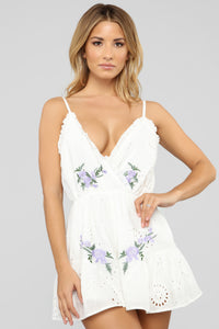 Sweet As A Flower Eyelet Romper - White/Blue