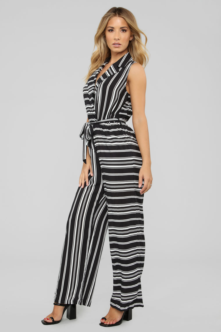 Give It A Chance Stripe Jumpsuit - Black/White